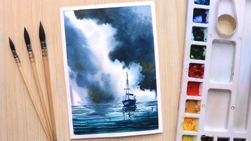 Watercolor painting of dramatic rainy cloud landscape step by step