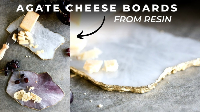 DIY Faux Agate Cheeseboard With Art Resin Coasters Slices Faux Geode Tutorial