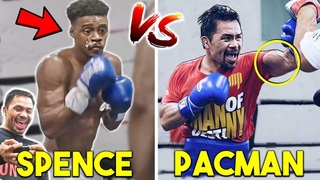 *NEW* PACQUIAO vs SPENCE 😅 PADS TRAINING SIDE BY SIDE COMPARISON- (SPEED vs POWER!)