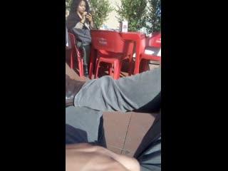 dick flash in a coffee bar