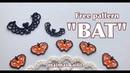 タティングレース「オニオンリングでコウモリの頭を作る」 Tatting lace Halloween motif Ba
