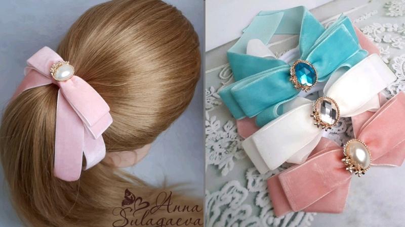 МК Бант из бархатной ленты на высокий хвост для взрослых и подростков Long velvet hair bow DIY