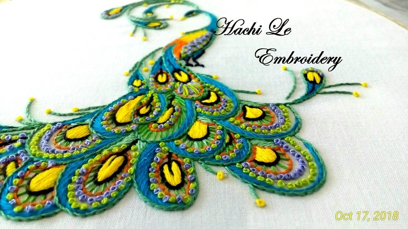 Amazing Hand Embroidery Hand Embroidery Tutorial How to Embroider Peacock Cách thêu