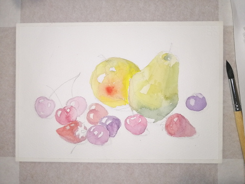 ОНЛАЙН-УРОК по рисованию «Клубника и черешня», изображение №9