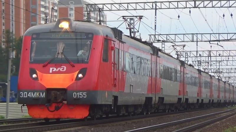 Электропоезд ЭД4МКМ-0155 резервом, станция Железнодорожная