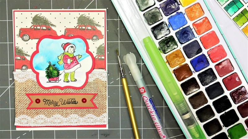 Sweet Sled Girl Stamped Watercolor Christmas Card