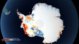Потери льда в Антарктиде и Гренландии