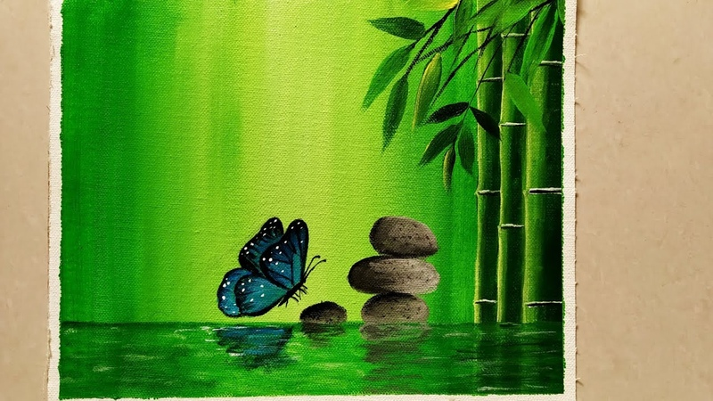 Step by Step Acrylic Painting on Canvas for Beginners/ Nature Scenery Painting/ Go Green Painting