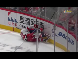 Michal kempny left the ice for the locker room after crashing into the wall knees