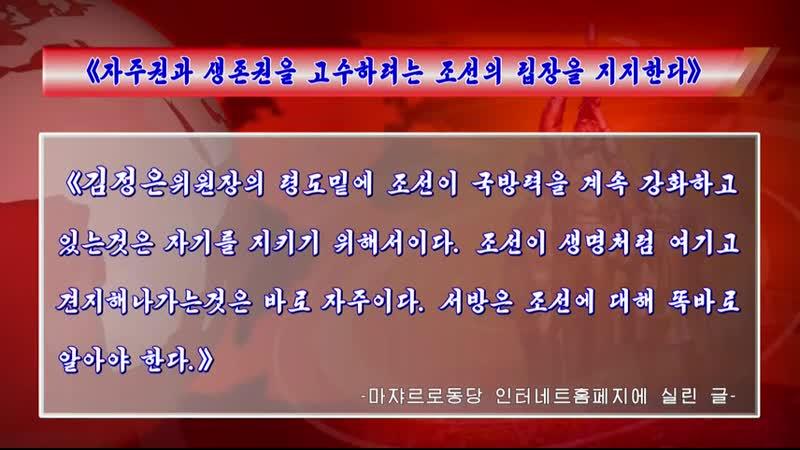 《자주권과 생존권을 고수하려는 조선의 립장을 지지한다》 마쟈르로동당 인터네트홈페지에 실린 글 외 1건