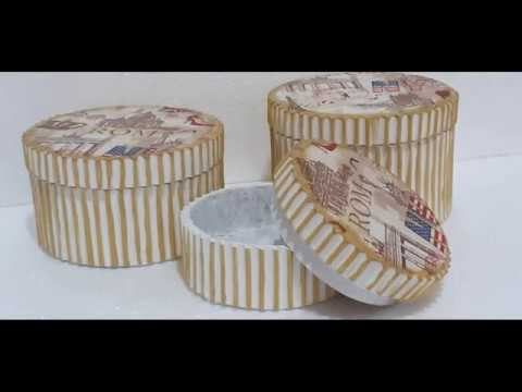Como fazer caixa redonda de papelão decorada com guardanapo para decoupagem