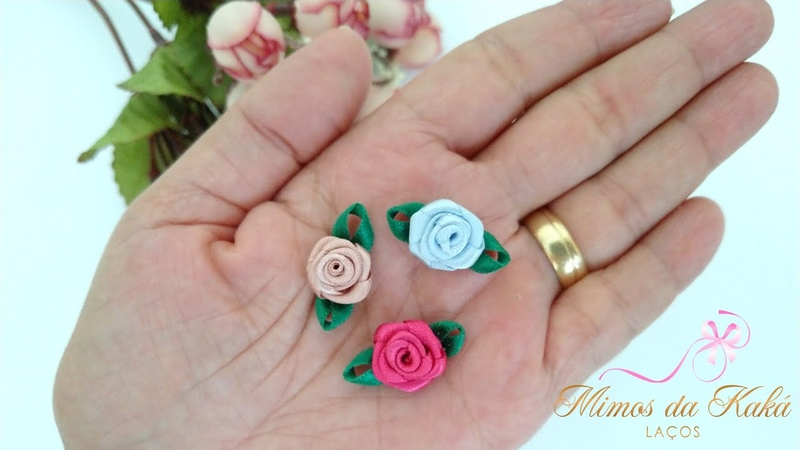 Mini Flor Rosa de Rococó Diy Ribbon Bow Kaká Magalhães