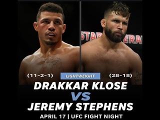 Джереми Стивенс против Драккара Клозе БОЙ В UFC 3/ UFC FIGHT NIGHT