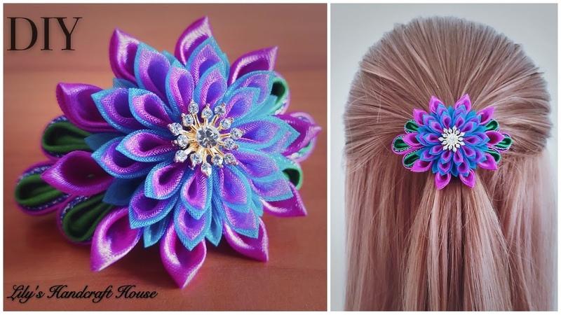 DIY handmade kanzashi flower hair scrunchy 🌺🌺 Lily's Handcraft House