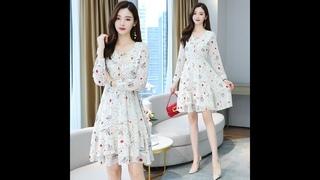 Женское шифоновое платье средней длины белого цвета, осенне весеннее подиумное корейское платье с длинным рукавом 2020,