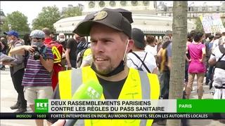 Nouvelles mobilisations à Paris contre l'extension du pass sanitaire