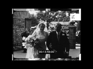 1930s UK Wedding, People Arriving to Chapel, Celebration, 16mm