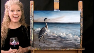 Learn How to Paint BEACH BLUE HERON with Acrylic - Paint and Sip at Home - Step by Step Tutorial