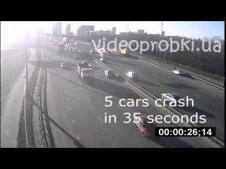 5 cars crash / Массовое ДТП из-за мелкой поломки авто