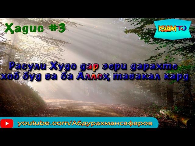 Ҳадис 3 Расули Худо дар зери дарахте мехост хоб кунад....