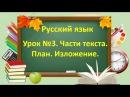 Русский язык. Начальная школа. Урок №3. Тема: Части текста. План. Изложение