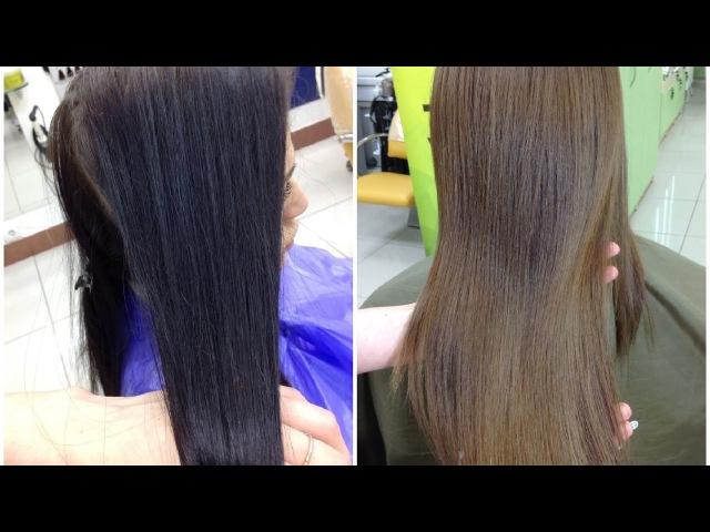 Смывка черной краски с волос || Декапирование