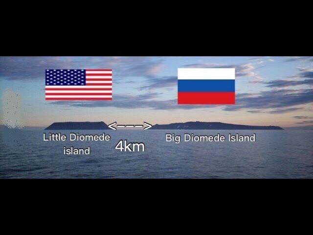 Граница между Россией и США Острова Диомида Расстояние 4км разница во времени 12 часов