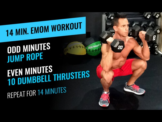 14 Minute EMOM Workout Jump Rope Thrusters