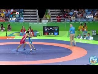 РИО-2016 греко-римская борьба 59 кг 1_8 финала Синобу Ота (Япония) - Алмат Кебиспаев (Казахстан)