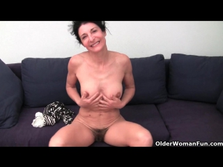 Hairy granny has a wet spot in her panties granny porn