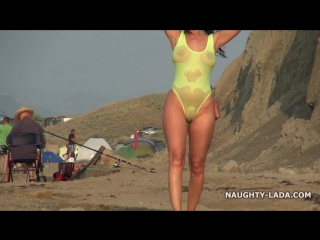 Transparent bikini and nude on the beach [amateur, public, exhibitionist, hd]