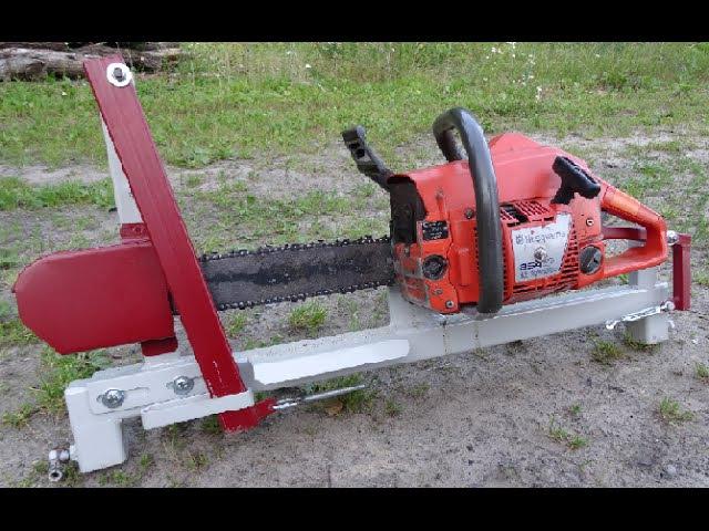 Firewood chainsaw processing on chainsaw bench Malkas zāģis