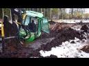 John Deere 1110D stuck in mud in wet peat saving with JCB JS160 excavator and Belarus 820
