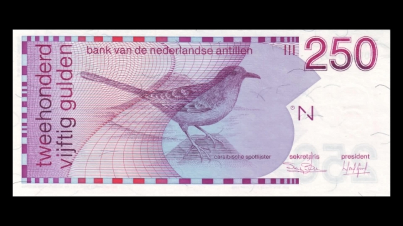 All Netherlands Antillean Guilder Banknotes 1986 to 1994 Birds Issue