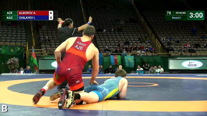 Round 2 FS - 92 kg: A. ALBOROV (AZE) v. I. CHILAYEV (KAZ)