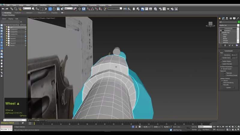 3d Gun Modeling (highpoly revolver - pistol ) timelapse 3DSMax 3D weapon Tutorial