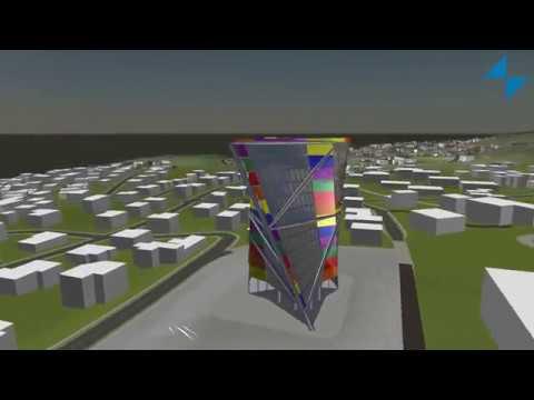 Bâtiment vitré avec intégration de panneaux photovoltaïques en BIM