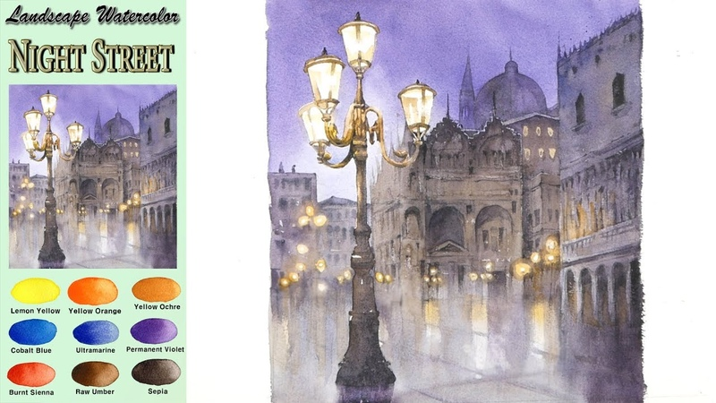 Landscape Watercolor- Night Street (Masking Work, wet-in-wet, Arches rough) NAMIL ART