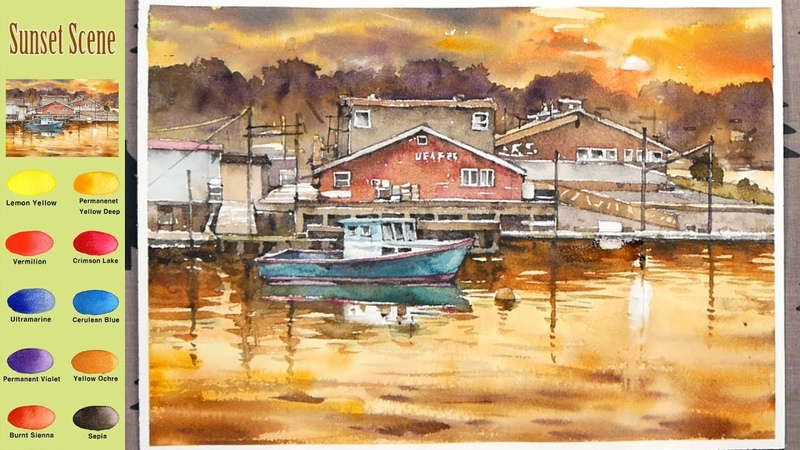 Sunset Scene - Landscape Watercolor (sketch color mixing, Arches rough) NAMIL ART