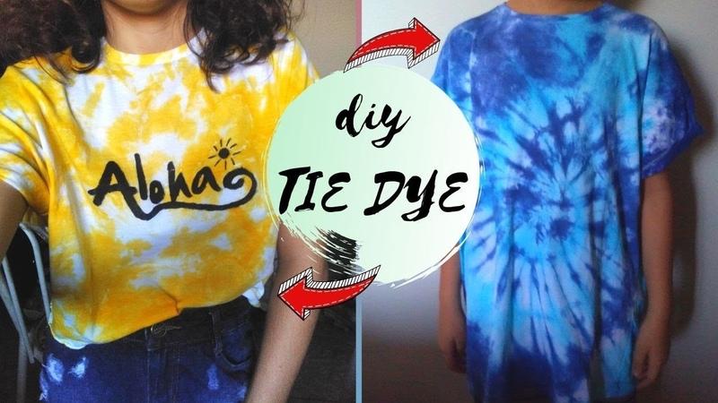 2 FORMAS DIFERENTES DE FAZER TIE DYE,CUSTOMIZE SUA CAMISETA BRANCA!(how to tie dye)