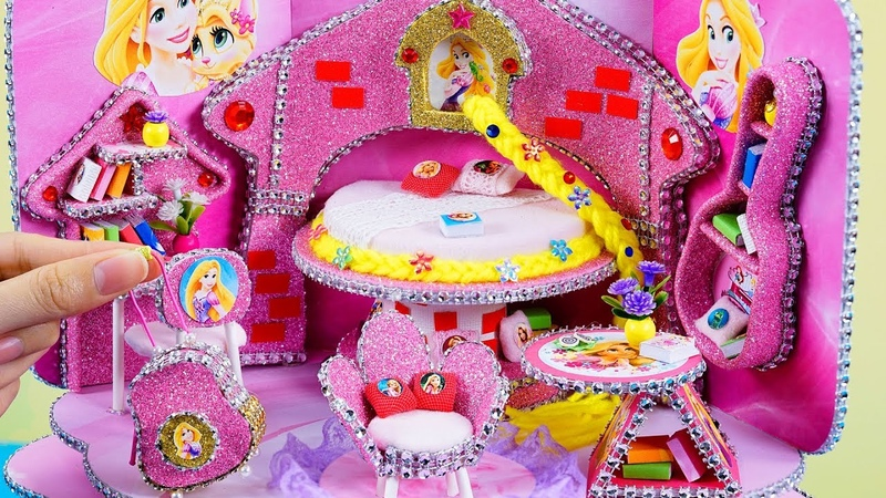 DIY Miniature Dollhouse Room ~ Rapunzel Room Decor , Backpack 31