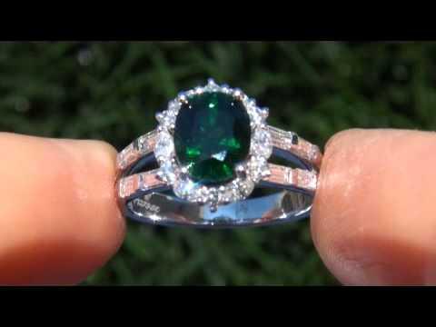 GIA CERTIFIED 4.62 ct VVS2 Tsavorite Garnet Diamond Vintage Estate Ring PLATINUM