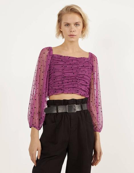 Блуза с вышивкой «Плюмети» и сборкой