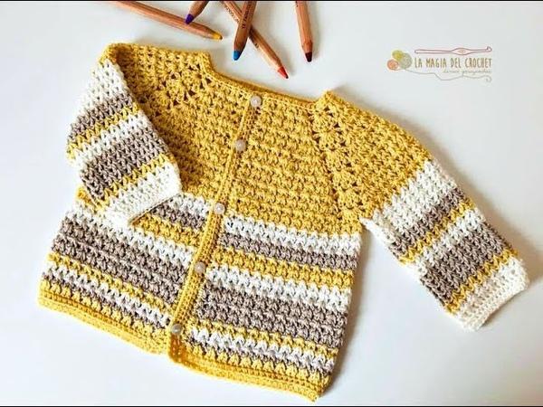 SAQUITO a crochet para bebe de 3 a 6 meses La Magia del Crochet