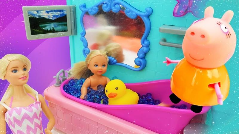 Peppa Pig, Barbie, Evi Love, seus brinquedos preferidos! Vídeo de brincadeira de boneca em português