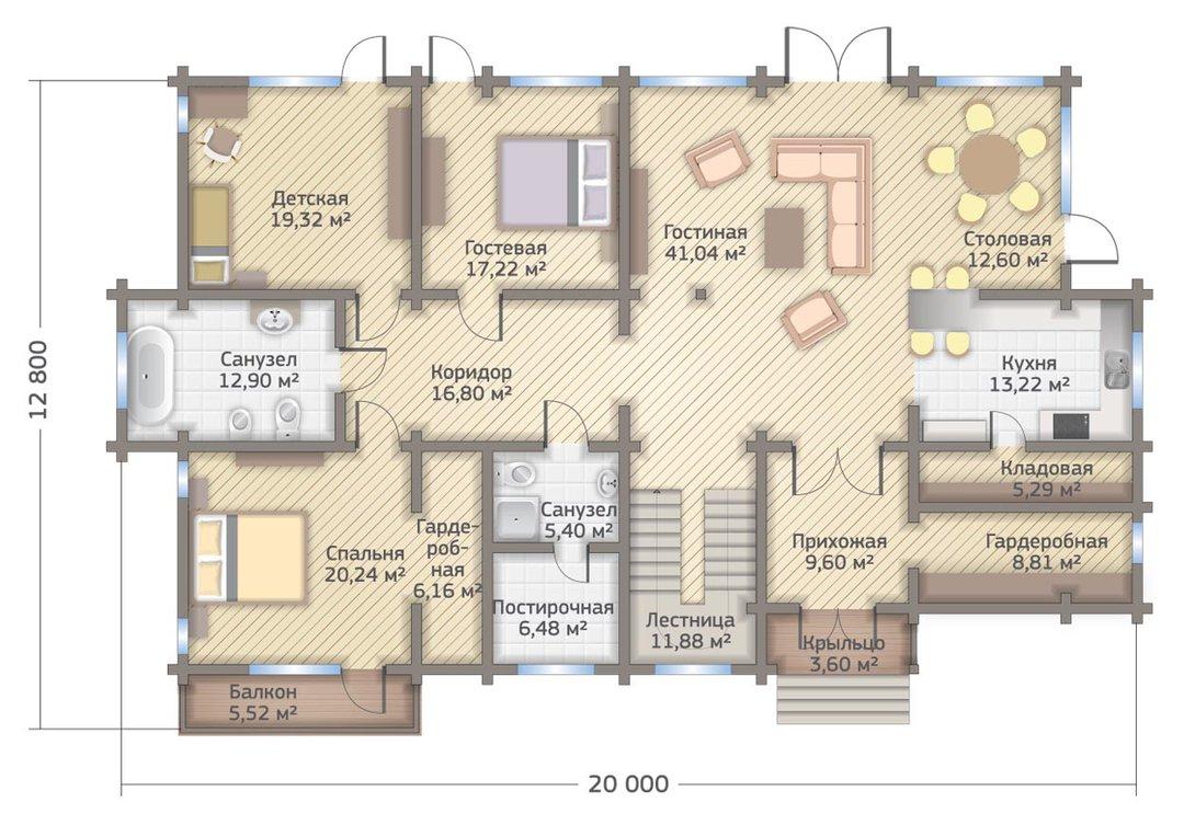 Проект двухэтажного дома 353 кв.