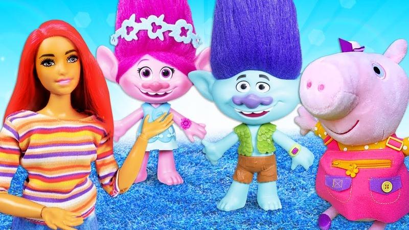 Spielzeugvideo für Kinder auf Deutsch Peppa Wutz und Barbie Troll Poppys gute Laune ist weg