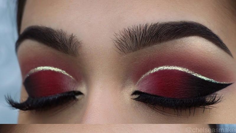 Tutorial Red cut crease glitter