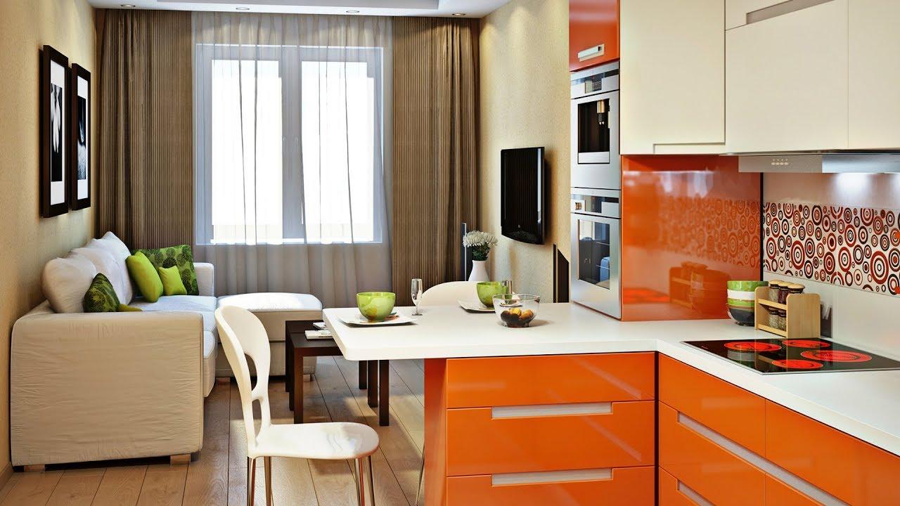 маленькая современная кухня-студия
