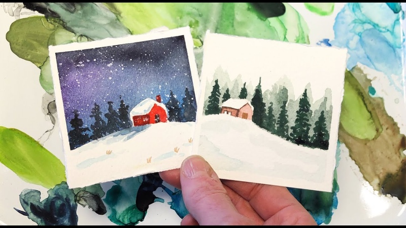 Watercolor Painting Tutorial Mini Monday Madness 12 Day Night Winter Cabin Step by Step